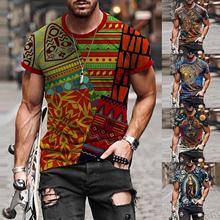 Мужская футболка размера плюс с коротким рукавом и 3d принтом