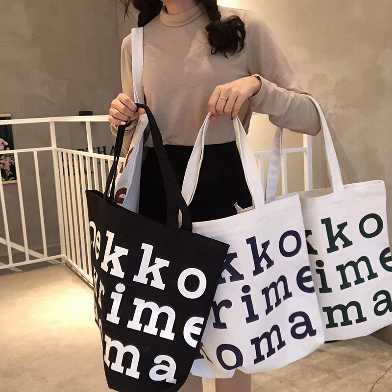 New Style Canvas Bag Student School Bag Korean-style Large Capacity Shoulder Portable Bag Printed Environmentally Pattern