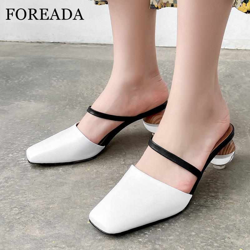 FOREADA Women Mules Shoes Real Leather Pumps Strange Style High Heel Sandals Fashion Cow Square Toe Ladies Footwear Beige 33-43