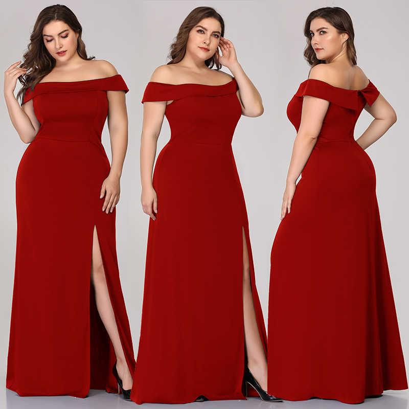 Elegante Vestidos De Noche La Reina Abby Funda Off The Hombro Mujeres Columna Formal Fiesta Vestidos Con Split Frontal De Talla Grande 2019