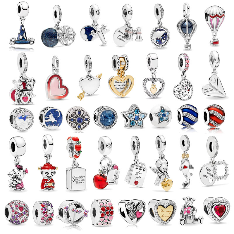 1pc Hot Sale Crystal Star & Moon Beads Heart Pendants Charms Fits Pandora Bracelets Necklaces For Women DIY Jewelry Accessories