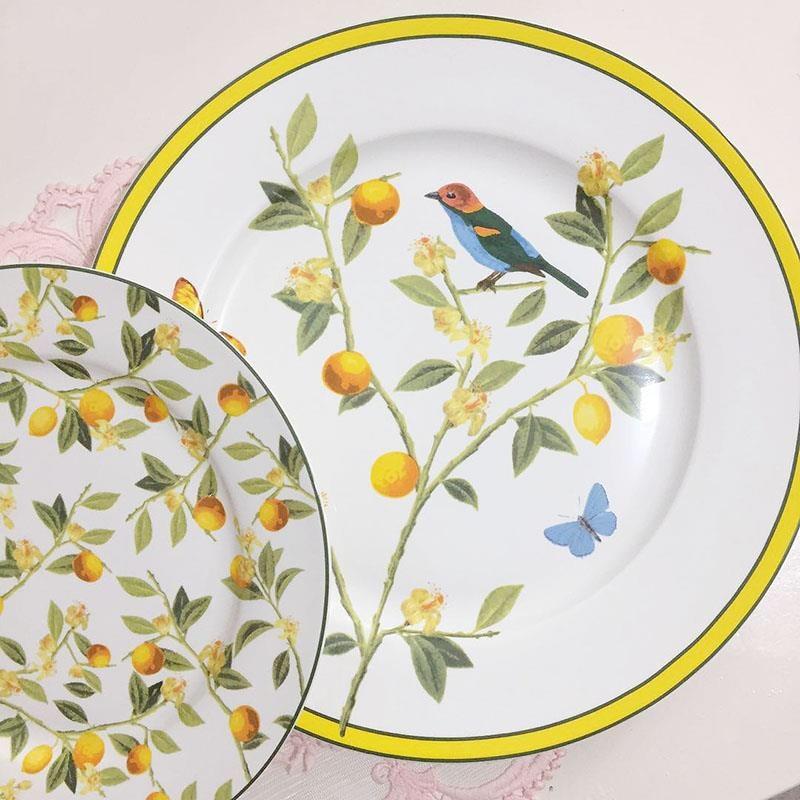 MIDOSHARK 8/11 Inch Yellow Loquat And Bird Ceramic Dinner Plate Set Dishes