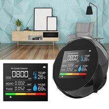 5 in1 co2 medidor de temperatura digital sensor umidade tester monitor qualidade do ar dióxido carbono tvoc formaldeído hcho detector