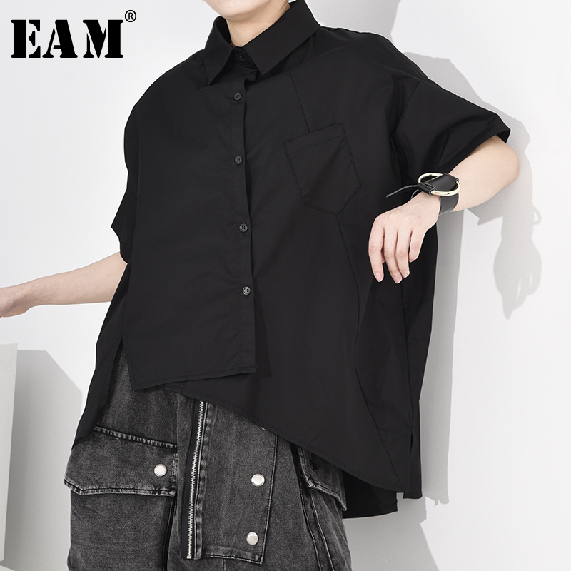 [EAM] Women Black Asymmetrical Split Big Size Blouse New Lapel Half Sleeve Loose Fit Shirt Fashion Tide Spring Autumn 2020 A616