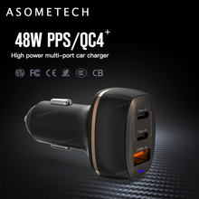 48W USB Car Charger PD Fast Charger Adapter 3 Port LCD Display QC 3.0 Cars Charging Socket For iPhone xiaomi Samsung Huawei