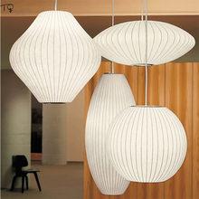 Nordic japonês luzes pingente de seda branco zen arte novo chinês sala estar quarto estudo restaurante sala chá luminária suspensão