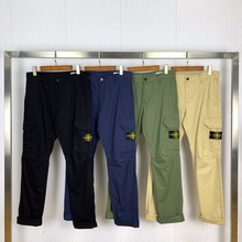 STONE ISLAND2021Spring and Autumn Multi-pocket Basic Overalls Straight Slim Trousers for Men and Women All-match Classic Casual
