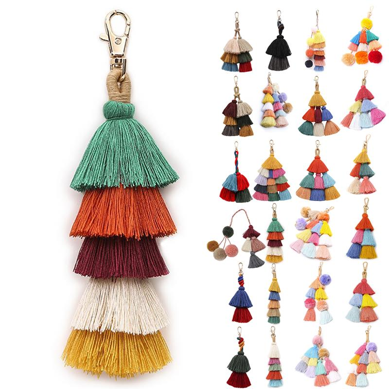 1pc PomPons Key Chain Rainbery 2019 Multicolor Tassel Women Keychain Bag Pendant Alloy Car Key Chain Ring Holder Retro Jewelry