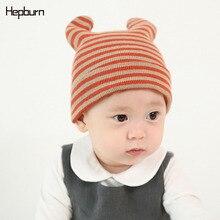 Hepburn Brand Winter Cotton Wool double Angle cap Children Kids Baby Newborn Beanie Cap Warm Knitted Hat Head