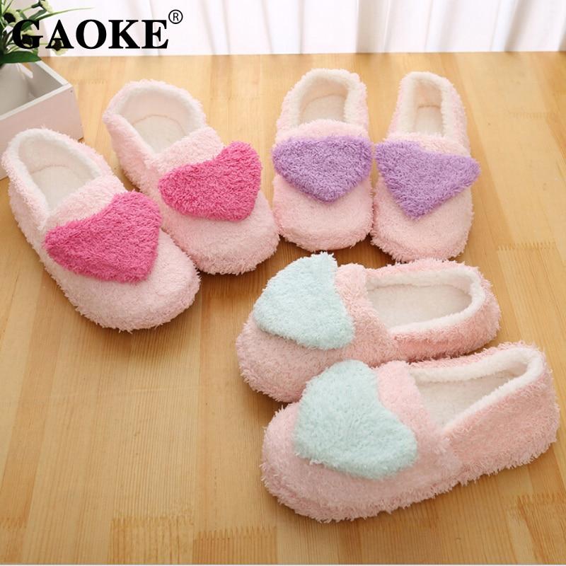 2019 New Lovely Women Flip Flop Cute Heart Shape Home Floor Soft Stripe Slippers Female Shoes Girls Winter Spring Warm Shoes