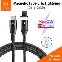 Mcdodo Cable USB magnético 20W PD 3A de carga rápida Cable para iPhone 12 mini 11 Pro Xs Max Xr 8X8 iPad tipo C A lightning Cable de datos