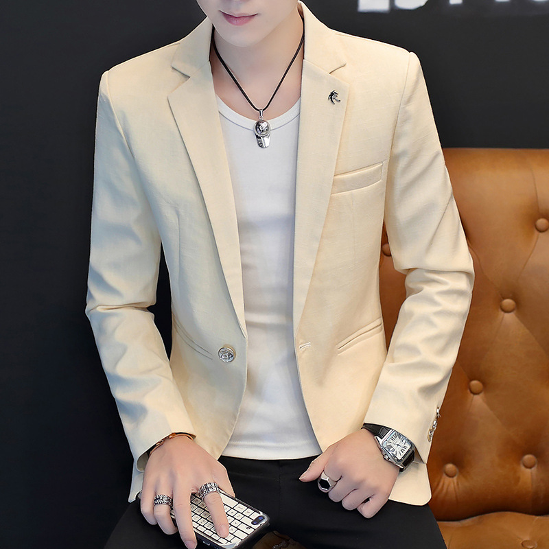 2020 Men Handsome Character Stealth Gauze Teenagers Light Color Fashion Leisure Small Business Blazer