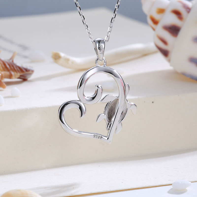 Strollgirl 100 925 sterling silver cute turtle heart shaped CZ pendant animal necklace 2019 fashion jewelry gift free shipping in Pendant Necklaces from Jewelry Accessories
