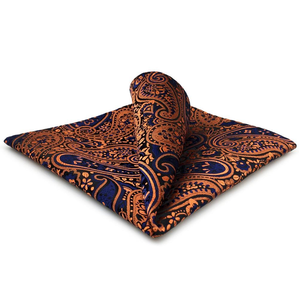 Orange Blue Handkerchief Pocket Square Silk Big Size Paisley Wedding
