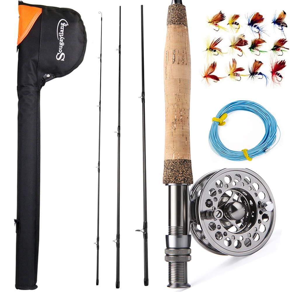 Sougayilang Fly Fishing Rod And Reel Combos Portable Freshwater Fly Fishing Full Metal 5/6 Fly Reels Set Trout Salmon Carp Pikes