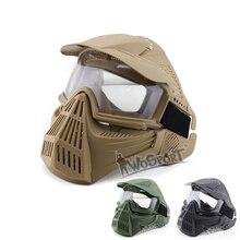 Volledige Gezicht Leger Tactische Masker Jacht Cs Wargame Beschermende Maskers Militaire Airsoft Schieten Paintball Masker Accessoires Met Lens