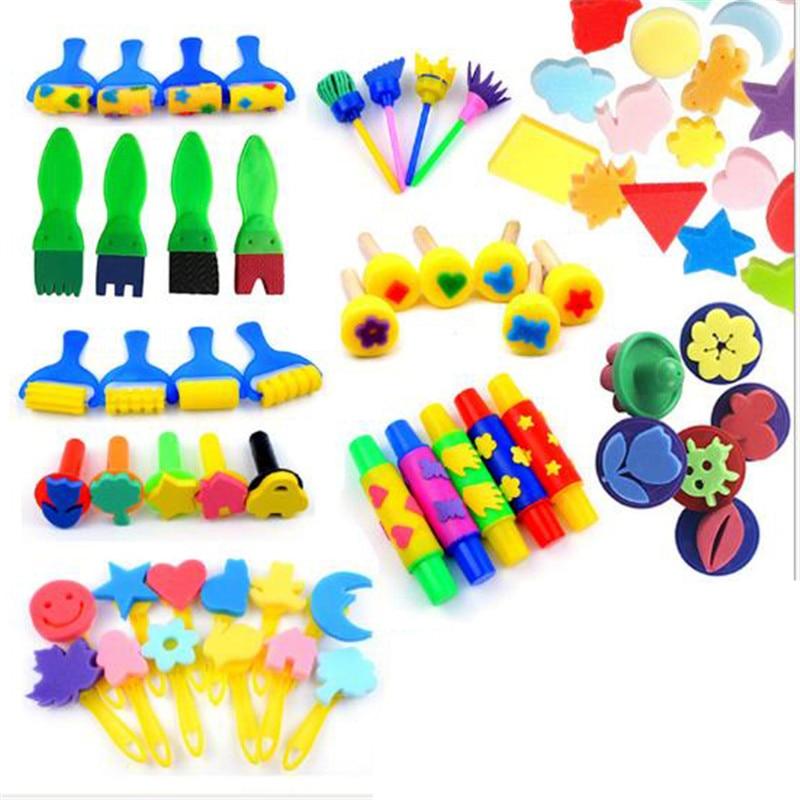 1Set DIY Sponge Painting Brush Children Painting Brush Flower Stamp For Baby Children Kids Graffiti Drawing Toys