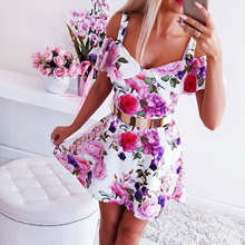Women Floral Print Sundress Sexy Off Shoulder Summer Dress Fashion Party Club Dresses Sleeveless A Line Ladies