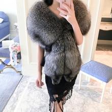 Very Fluffy Natural Fox fur Shawl Real Fur Jacket & Coat 2019 Imported Silver Medium Long Winter Bride