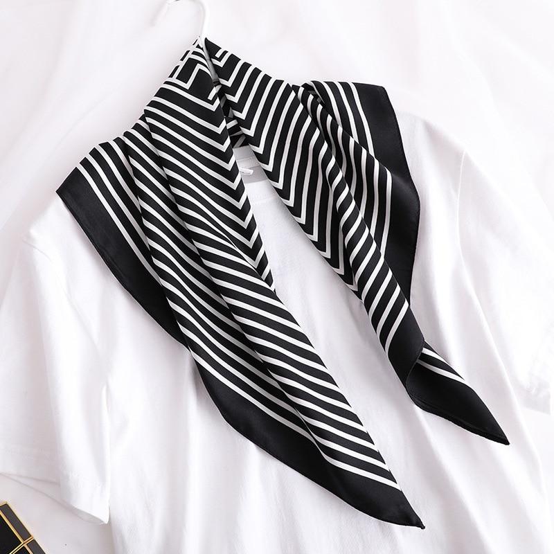 Fashion Striped Print Hair Scarves For Women Small Shawls Silk Satin Kerchief Bag Scarf Female 70cm*70cm Neck Scarfs For Ladies