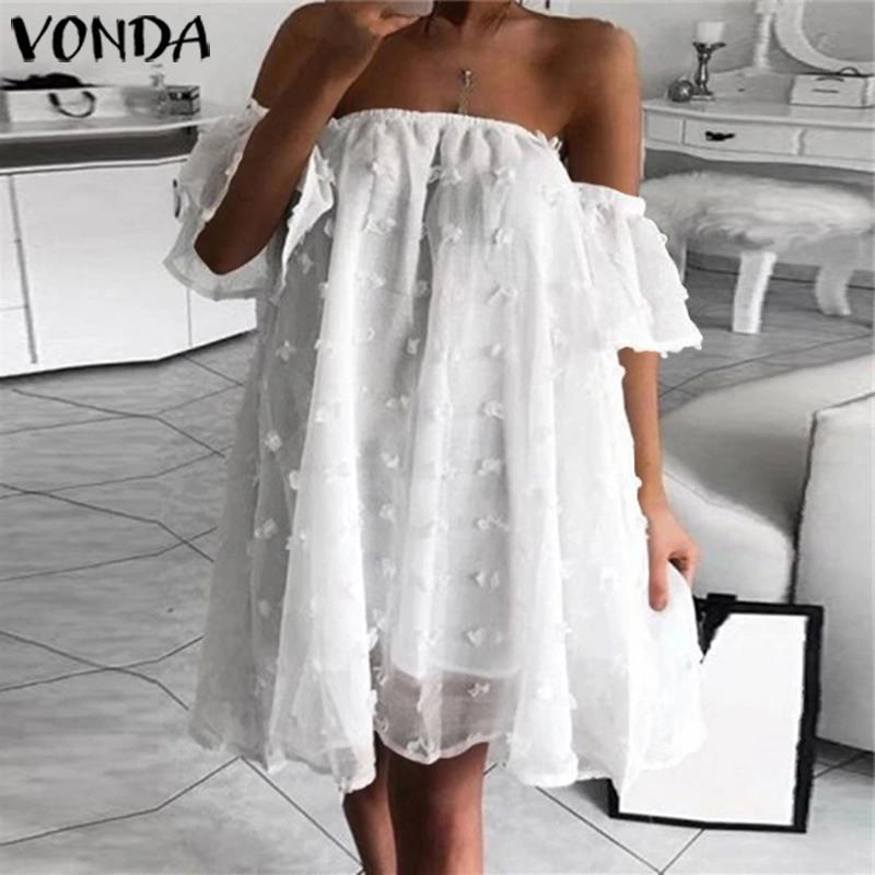 Off Shoulder Dress 2020 Summer Bohemian Sundress VONDA Casual Loose Sexy Lace Beach Mini Dresses Plus Size Party Vestidos