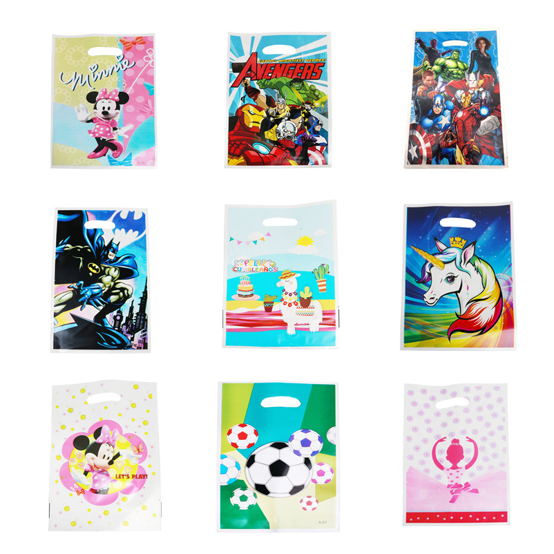 50pcs Loot Bag Mickey Minnie Mouse Unicorn Alpaca Football Avengers Plastic Gift Bags Girl Birthday Party Supply Wedding Decor