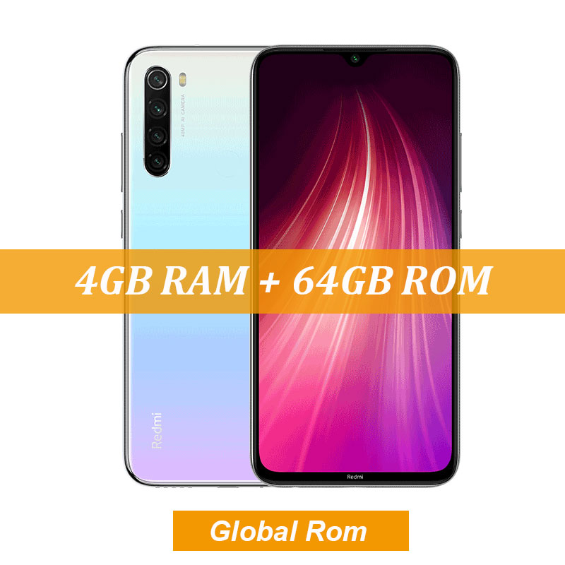 "New Global ROM Xiaomi Redmi Note 8 4GB 64GB 48MP Quad Camera Smartphone Snapdragon 665 Octa Core 6.3"" FHD Screen 4000mAh - Цвет: 4GBWhite"