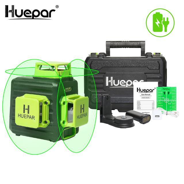 Huepar 3D Cross Line Self leveling Laser Level 12 lines Green Beam Li ion Battery with Type C Charging Port & Hard Carry Case