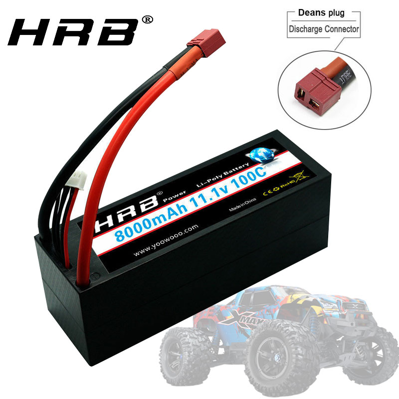 HRB RC Battery 11.1V <font><b>8000mah</b></font> <font><b>3S</b></font> hard case <font><b>lipo</b></font> 100C with Trx Connector T plug for trxxas cars truck Truggy Buggy Tank Helicopter image