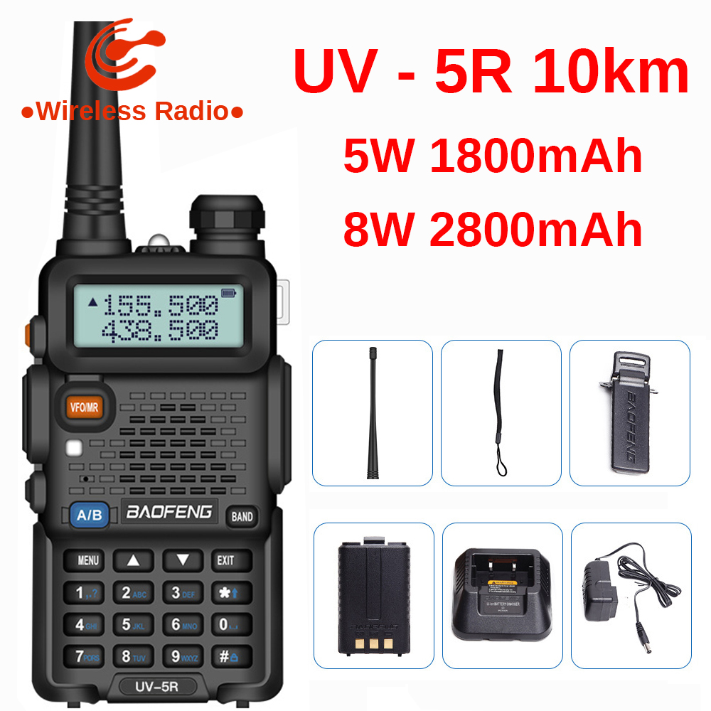 Baofeng UV 5R Walkie Talkie 10km UV5R CB Radio 8W 128CH VHF UHF Dual Band Baofeng UV-5R Two Way Ham Radio Comunicador Scanner