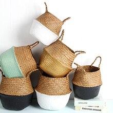 Rattan Straw Basket Wicker Seagrasss Folding Laundry Flower Pot Vase Home Garden Hanging Wedding Gift