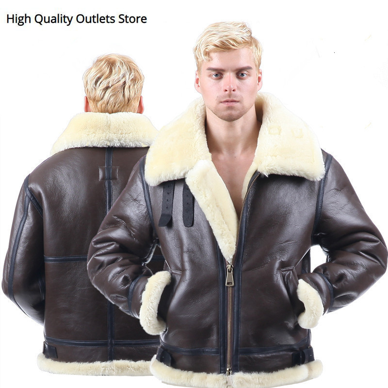 Men Winter Bomber Jacket Tops Mens Fur Coat Genuine Leather Jackets Coats Sheepskin Coat Outerwear Clothes Short Design Real 01