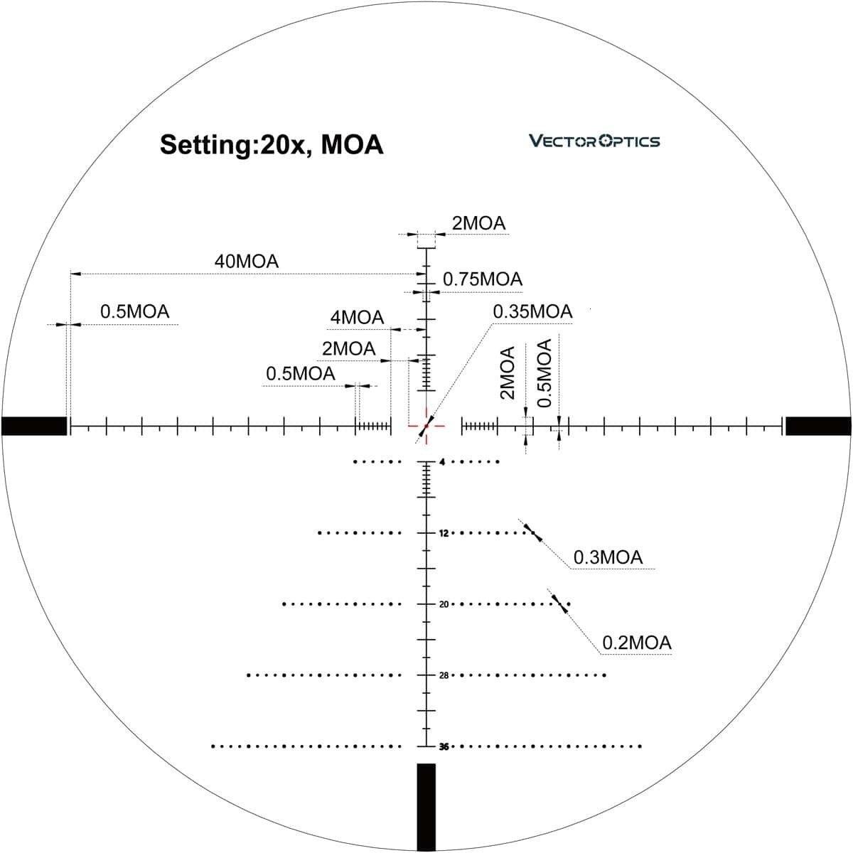 Óptica do vetor tourex 6-24x50 ffp iluminação