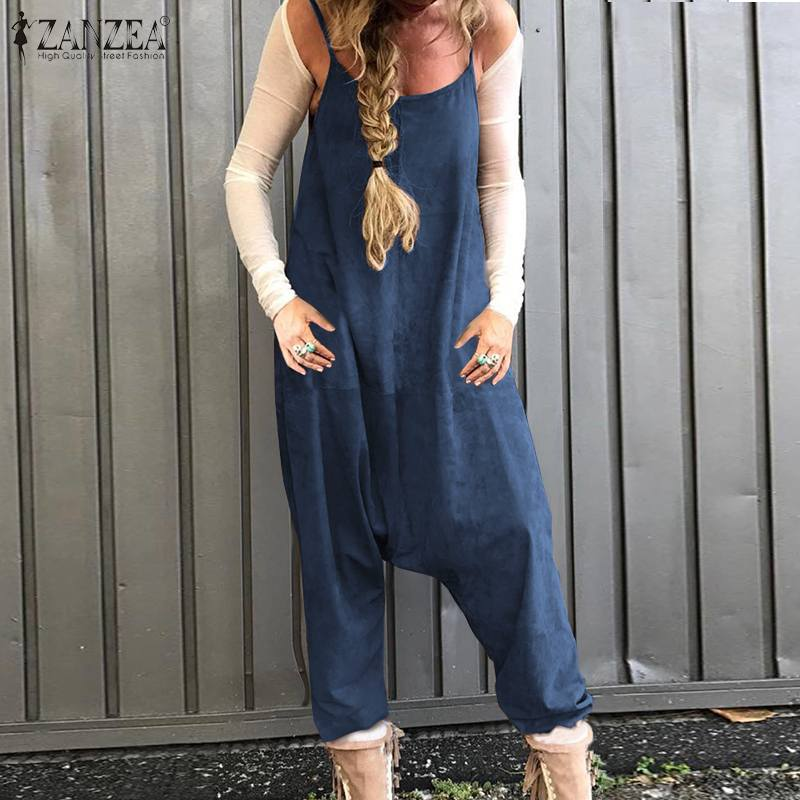 ZANZEA Vintage Overalls Women's Summer Jumpsuits 2020 Casual Summer Playsuits Female Drop Crotch Loose Rompers Plus Size 5XL