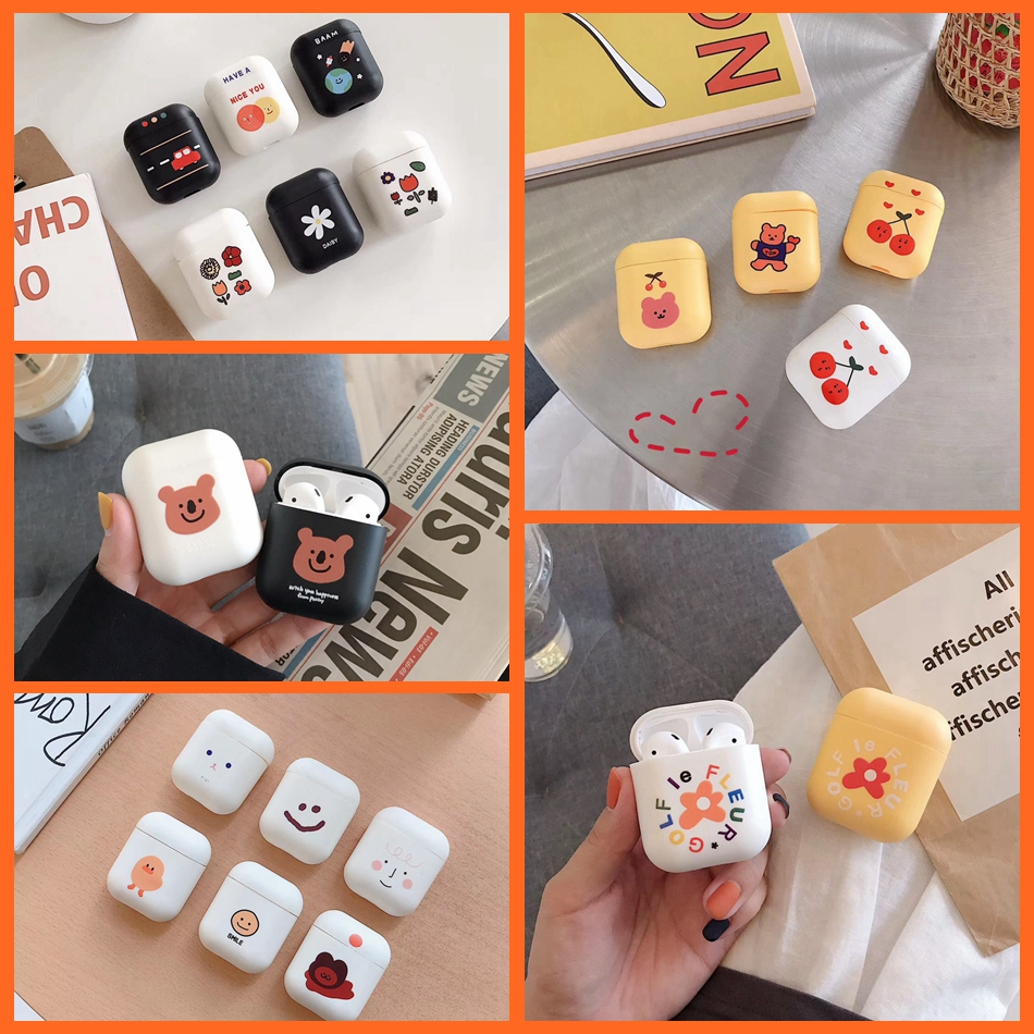 For AirPods Case Cute Cartoon Bear Flower Pattern Earphone Cases For Apple Airpods 2 Ins Style Funny Soft Silicone Protect Cover