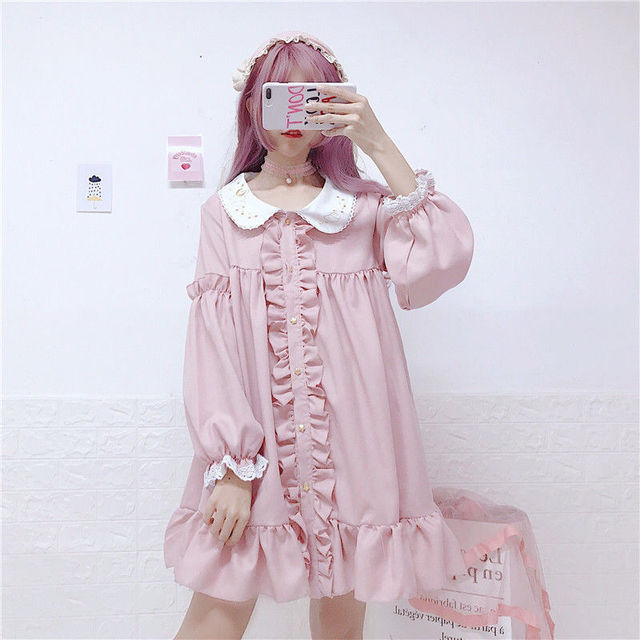 MAGOGO Doll Ruffles Lolita Dress Women New  Peter Pan Collar Pink Cute Sweet Dress Soft Sisters Costume Dress 3