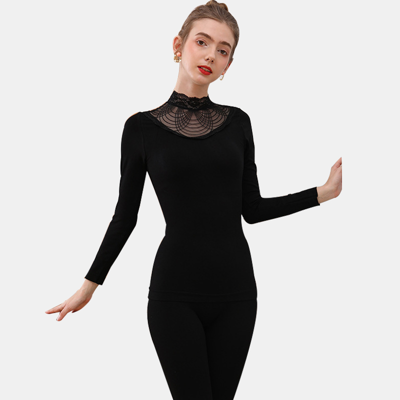 Sexy Elegant Black Women's Thermal Underwear Set Bodycon Turtleneck Long Johns Lace Second Thermal Skin Female Winter Clothes