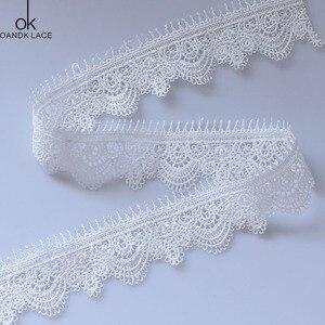 Buena Suerte, высокое качество, 3 ярда, белая шелковая вышитая кружевная лента, молочная кружевная ткань, прошитая аппликация, кружево для свадьбы,...