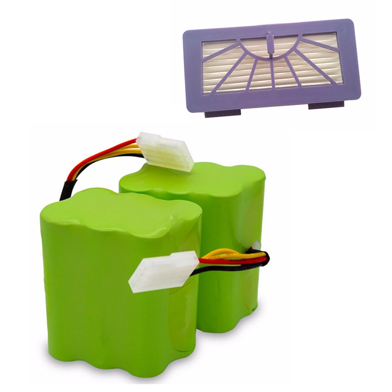 Nouveau 2X Batterie + 2X Filtre 4500Mah 7.2V pour Neato Xv-21 Xv-11 Xv-15 Xv-14 Xv-24 Xv-12 Pro Robot Aspirateur Accessoire
