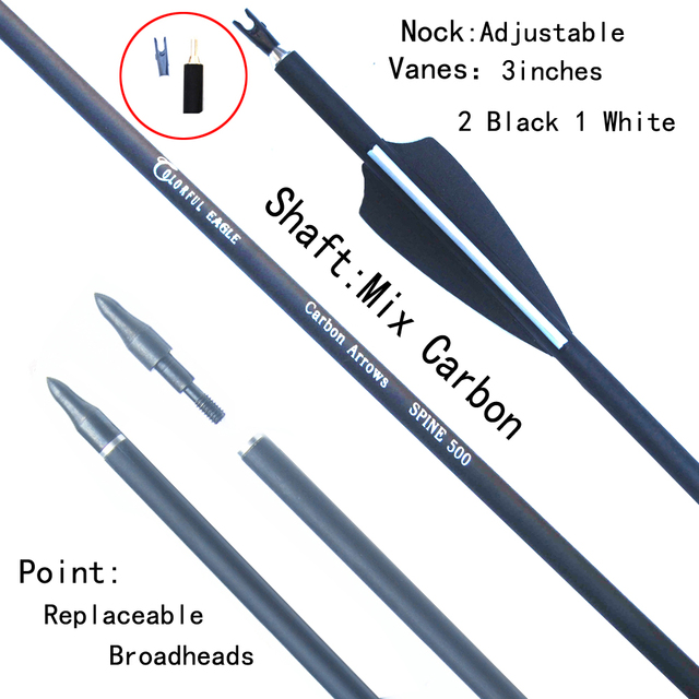 6/12/24pc 28/30/31inch 500 spine Archery Carbon Arrow Replaceable Arrow Head Archery for Compound/Recurve Bow Hunting & Practice 2