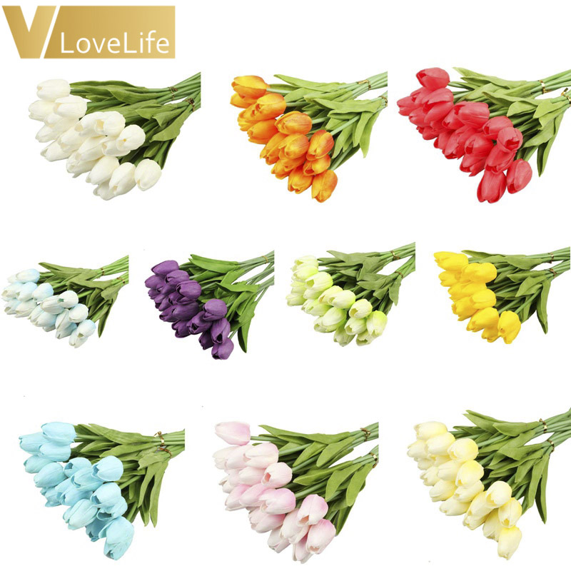 10pcs Artificial Tulip Flowers Mini tulip Flowers Real Wedding Flowers For Wedding Banquet Bridal Bouquet Home Garen Decoration 1