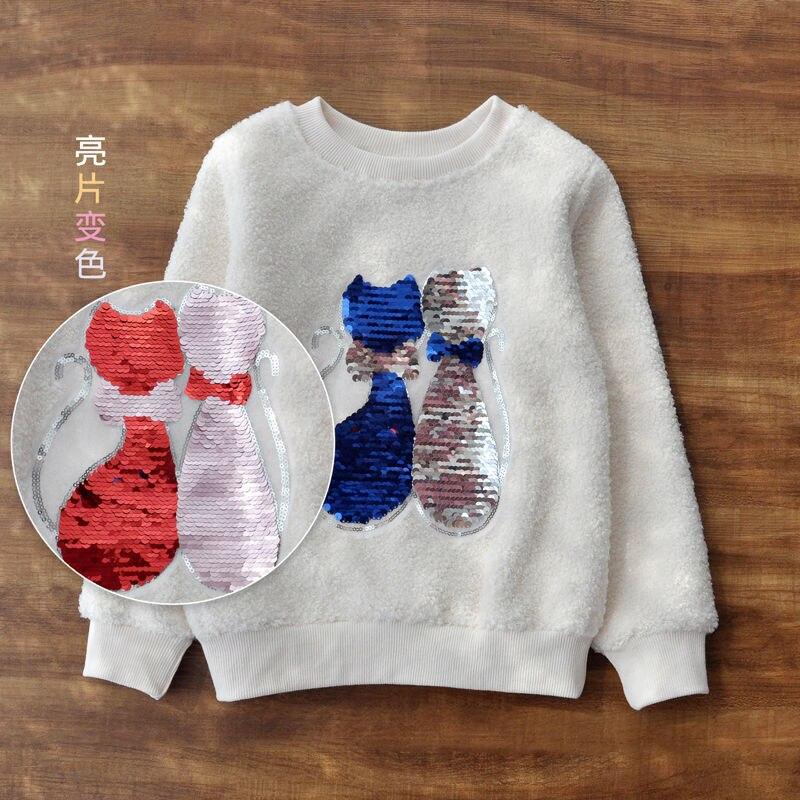 Vidmid Long Sleeve Girl T-shirt Cartoon Unicorn Girl Shirts Sequined Kids Top Fashion Girls color changing Sequin Clothing p331 5