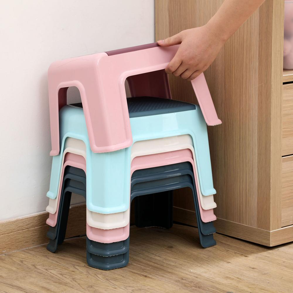 4 Legs Low Stool Baby Anti-slip Footstool Child Bathing Stool Household Plastic Adult Change Shoes Bench Kids Furniture