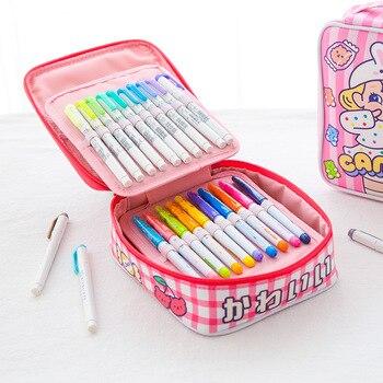 Śliczne szkoła piórnik dla dziewczyn Mesh piórnik 48 otwory piórnik Kawaii koreański długopis piśmienne torba w kratę Crayon Cartridge