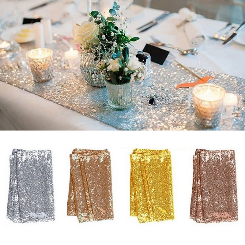 4 Color 30x180cm Glitter Sequin Table Runners Sparkly Wedding Party Banquet Tablecloth Decor For Bedroom Dropshipping