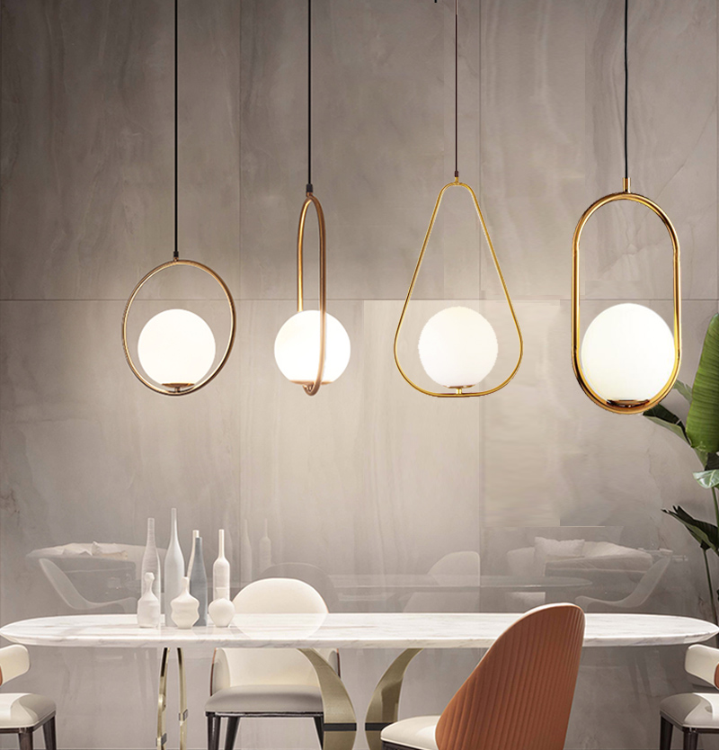 Nordic Chandeliers Led Single Head Personality Glass Ball Restaurant Table Bar Lamp Modern Led Chandeliers