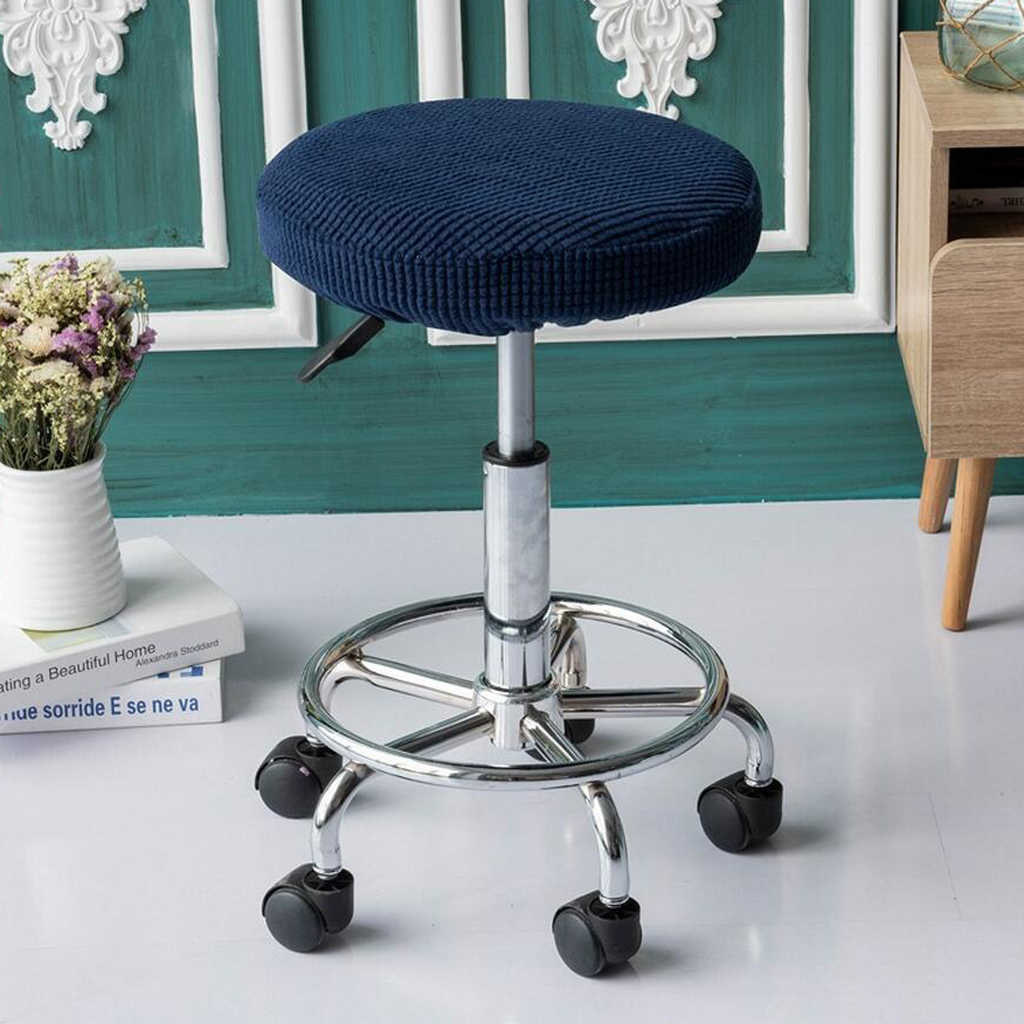 Round Bar Stool Slipcover Office Chair Breathable Seat Cover Cushions Grey Furniture Slipcovers