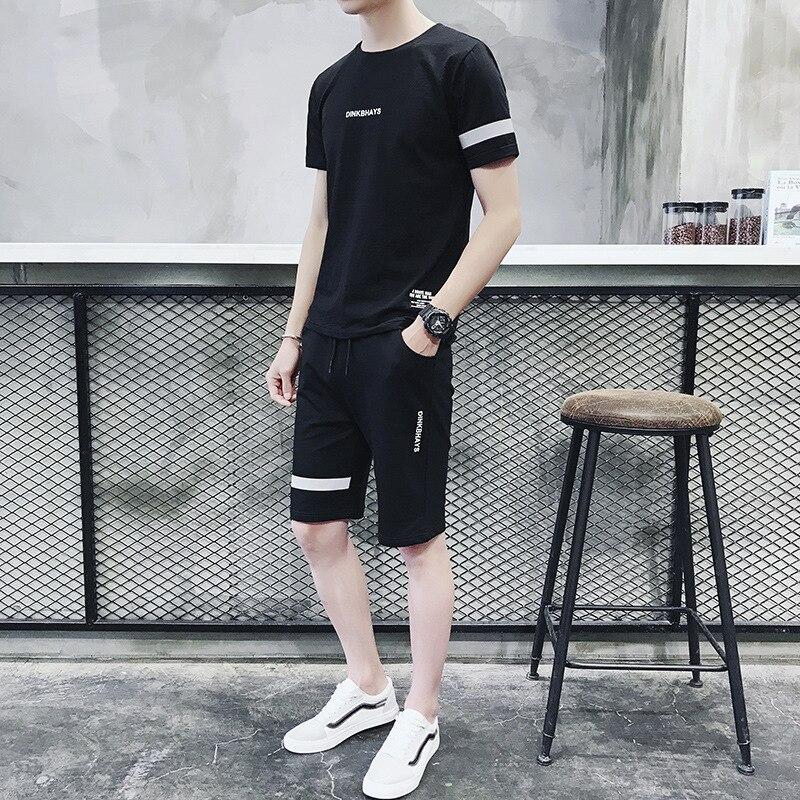 Short Sleeve Sports Leisure Suit Men's Two-Piece 2019 Summer New Style Men Korean-style Cotton T-shirt Shorts