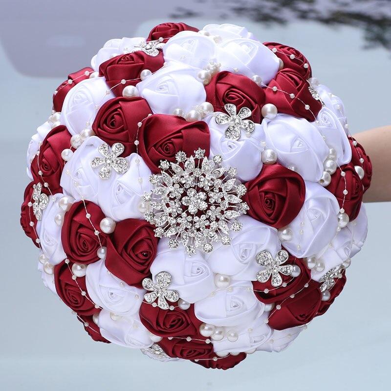 Handmade Ribbon Wedding Rose Flowers Rhinestone Bridal Bouquets Pearl Bridal Holding Bouquet Fleur Artificielle Mariage W224D