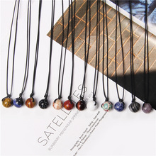 Natural Round Minerals Healing Stone Beads Pendant Necklace Jewelry For lucky Women Men Handmade Black Rope Necklace Gifts Bulk